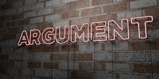 ARGUMENT - Glowing Neon Sign on stonework wall - 3D rendered royalty free stock illustration. Can be used for online banner ads and direct mailers Stock Image