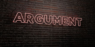 ARGUMENT -Realistic Neon Sign on Brick Wall background - 3D rendered royalty free stock image. Can be used for online banner ads and direct mailers Stock Photography