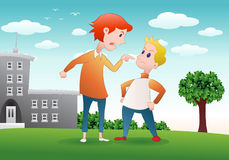 Argument at school. A cartoon of angry boys argument at school on school background Royalty Free Stock Photo