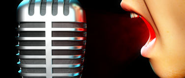 Argument. Someone ranting into a microphone Stock Photo