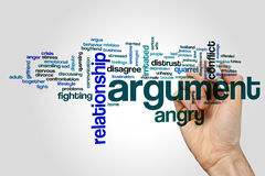 Argument word cloud concept on grey background Stock Image
