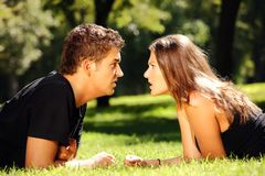 Argument of young couple Royalty Free Stock Image