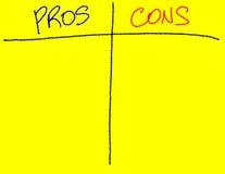 Argument za/Kantują listę dla prezentaci Obrazy Stock