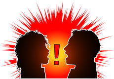 Argument1. Raster silhouette graphic depicting a man and a woman arguing Royalty Free Stock Images