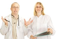 Argumentation de deux médecins Image stock