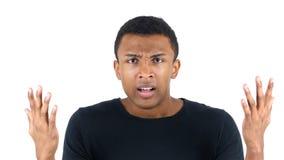 Argumentierung des verärgerten schwarzer Mann-Schreiens Lizenzfreie Stockfotografie