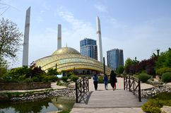 Argun, Russia - May 8, 2018: High-tech Mosque `Heart of the Mother` in Argun, Chechnya, Russia. Mosque named Aymani Kadyrova. Argun, Russia - May 8, 2018: High stock image