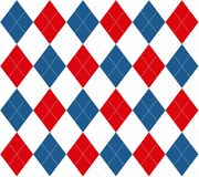 Argyle blanc et bleu rouge Images stock