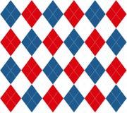 Argyle blanco y azul rojo Imagenes de archivo