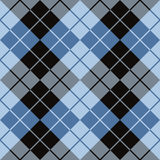 Argyle Design in Black and Blue. Trendy argyle pattern in blue and black repeats seamlessly Stock Images