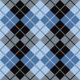 Argyle Design i svart och blått Arkivbilder