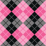 Argyle Design in Pink and Black. Trendy argyle pattern in pink and black repeats seamlessly Stock Photo