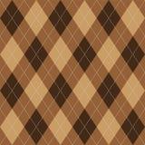Argyle pattern brown rhombus seamless texture Royalty Free Stock Photo