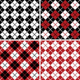 Argyle Pattern_Harlequin. Four seamless, repeating 6 square vector argyle patterns in black, red and white Stock Photography