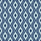 Argyle Pattern Japanese Style Seamless Vector. Hand Drawn Indigo Blue Diamond vector illustration