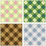 Argyle pattern set. Green earthtones neutral and pastel argyle pattern set Stock Image