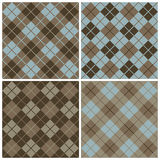 Argyle-plaid Patroon in Blauw en Browns Royalty-vrije Stock Foto's