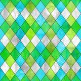 Argyle seamless pattern background. Argyle seamless plaid pattern. Watercolor hand drawn gray blue lemon green texture background. Watercolour diamond shapes Stock Images