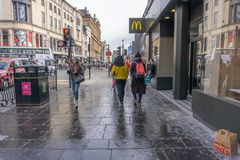 Argyle Street Glasgow Busy With Pedestrians and Traffic. royalty free stock images