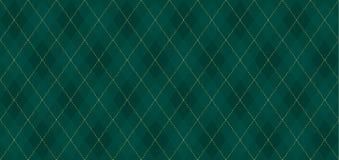 Argyle-Vektormuster Dunkelgrün mit dünner dünner goldener punktierter Linie vektor abbildung
