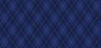 Argyle-Vektormuster Marineblau mit dünner goldener punktierter Linie stock abbildung