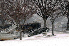 Argylemeer in Babylon-Dorp in een sneeuwonweer Stock Foto's
