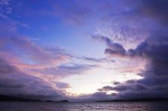 Argyll sunset - Scotland. Dramatic Argyll sunset with storm clouds over sea - Scotland stock image