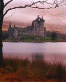 argyll下雨苏格兰的城堡kilchurn 库存照片