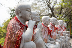 The arhat statue group Stock Photography