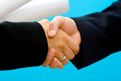 Arhitects shaking hands Royalty Free Stock Photos