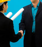 Arhitects shaking hands Royalty Free Stock Photo