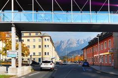 Arhitectural细节在比绍夫斯霍芬镇在一秋天天 免版税库存图片