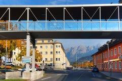 Arhitectural细节在比绍夫斯霍芬镇在一秋天天 库存照片