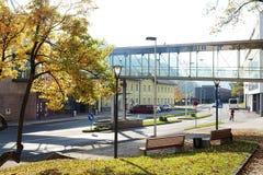 Arhitectural szczegół w Bischofshofen miasteczku w pogodnym jesień dniu fotografia stock