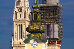 Arhitecture barroco y gótico, Zagreb, Croacia imagen de archivo