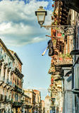 Arhitecture di Catania - vista della via di Catania Immagine Stock