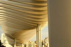 Arhitecture från fjärden för pietonalområdesMalaga port Arkivbilder