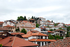Arhitecture of Ohrid city,  Macedonia. Part of the old tuwn of Ohrid, Macedonia Royalty Free Stock Photo