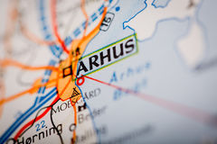 Arhus City on a Road Map. Map Photography: Arhus City on a Road Map Royalty Free Stock Images