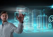 Aria commovente dell'uomo d'affari davanti alle interfacce della costruzione 3D Immagine Stock Libera da Diritti