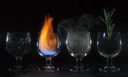 aria della terra del fuoco dell'acqua di 4 elementi Fotografia Stock