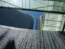 Aria fountain. Wall fountain in front of Aria hotel in Las Vegas Royalty Free Stock Photos