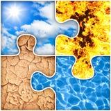 Aria, fuoco, terra, un puzzle dell'acqua di quattro elementi Immagini Stock