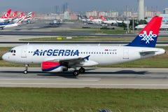 Aria Serbia Airbus A319-132 di YU-APF Fotografie Stock Libere da Diritti