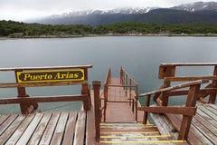 Ariahamn på den Lapataia fjärden längs den kust- slingan i Tierra del Fuego National Park, Argentina Royaltyfri Bild