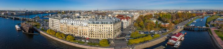 Free Arial Drone Panoramic View Of St. Peterburg. Sankt Peterburg. Istoric Center.Petrograd Side. Bridges Architecture Of Rusia Royalty Free Stock Photos - 173521788