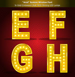 Arial Font in Gold Style With Shining LED Lamps Stock Image
