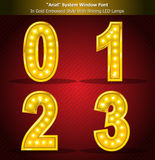 Arial Font in Gold Style With Shining LED Lamps Stock Photography