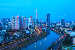 Arial night view at Vo Van Kiet Highway in Ho Chi Minh city Royalty Free Stock Photos