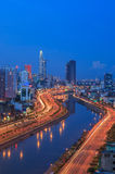 Arial night view at Vo Van Kiet Highway in Ho Chi Minh city Stock Images
